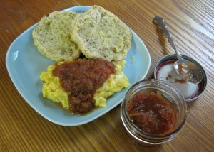 Tomato Onion Jam on eggs for breakfast. Yum!