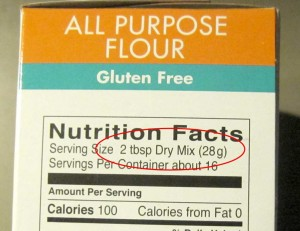 Example For This Package Of Gluten Free Flour Mix One Serving Is 2 Tablespoons If Your Recipe Calls 1 Cup You Can Look At The