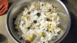 fruits, nuts and coconut flakes